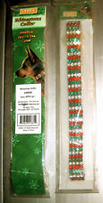 NIP LARGE Kyjen Stretch Jeweled Red White Green Rhinestone Dog Collar Christmas