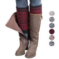 Women Winter Leg Warmer Jacquard Knitted Boot Socks Toppers Cuffs Soft Knee sock
