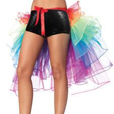 Rainbow Neon Mini Tutu Skirt Rave Club Party Dancewear Half Bustle Burlesque New