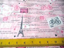 Timeless Treasures Fabric Eiffel Towers French Script on Pink 4 Pillows & Quilts