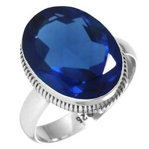 925 Sterling Silver Ring Blue Sapphire Simulated Gemstone Collectible Jewelry O5