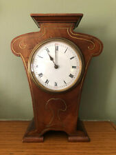 Antique Art Nouveau Inlayed Brass & Wood Mantel Clock Early 1900's