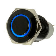 16mm 12V Blue LED Light Push Button Toggle Switch Black Shell Metal Sales