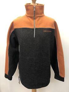 Swanndri Wool Half Zip Fleece Jacket Orange Grey Size M