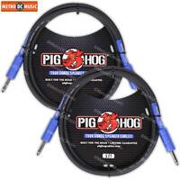 "2-PACK Pig Hog 5ft 1/4"" Speaker Cable 8mm Amp Head Cord PHSC5 14 Gauge Wire"