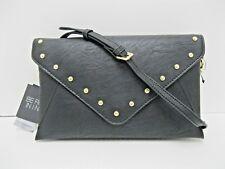 Purse INC NWT $59 Emma Black Faux Leather Clutch Shoulder Bag Crossbody Studs