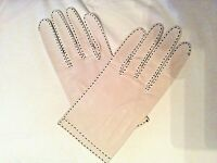 Gloves Dress or Driving Ladies Soft Leather Vintage Beige brown stitching Sz 7