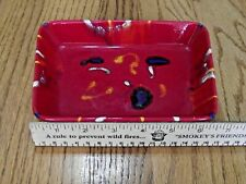 ARTISAN POTTERY RED with YELLOW BLUE WHITE COLOR SPLASHES RECTANGLE TRINKET TRAY