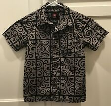 Quiksilver Boys Sz 5 Black Tribal Print Hawaiian Aloha Button Down Shirt