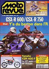 MOTO REVUE 3263 Essai SUZUKI GSX-R 600 750 YAMAHA YZM BMW F650 Strada DAKAR 1997