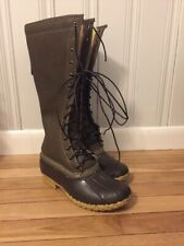 "LL Bean Signature Shearling Lined Tumbled Leather 16"" Women's Boots Olive 7"