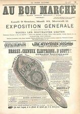 Réclame Pub Magasin au Bon Marché Paris Brosse à Cheveux Electrique GRAVURE 1882