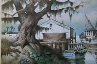 Tom Nicholas Signed Framed Lithograph Along the Gulf Coast with COA