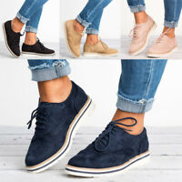 Women Oxfords Shoes Casual Wing Tip Brogues Dress Stitched Lace up Flats Shoes