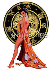 Sexy Pinup Decal Sticker Japanese Girl Gold Coin Waterslide S87