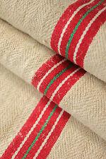 Antique GRAIN SACK feedsack European red and GREEN stripe Christmas bag ~