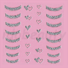 NAIL ART STICKER DECORATIONS GLITTER HEART AND FRENCH TIP DESIGN FOR NAILS
