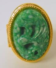 Vintage  Avon Carved Lucite Imitation Jade Perfume Poison Ring
