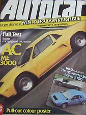 AUTOCAR MAGAZINE MAR 1980 MID-ENGINED TWO SEATER AC ME 3000 AC SPORTS LINE POSTE