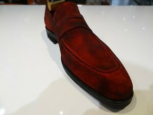 Mezlan Shoes Cherry Red Distressed Patina Suede Penny Loafer Slip On
