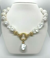"""15 mm x 16 mm Baroque Pearl Strand .925 Vermeil 19"""" Necklace"""