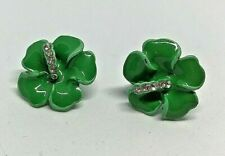 Vintage Ceramic Enamel Green Flower Rhinestone Diamante Earrings 1980'