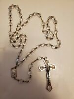WEDDING ROSARY LAZO DE.BODA VINTAGE ITALY SILVER CROSS IRRIDESCENT GLASS BEADS