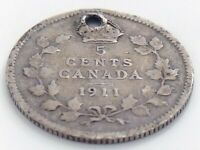 1911 Canada Five 5 Cent Small Silver Circulated Canadian George V Coin J578