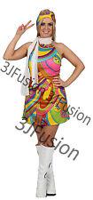 Ladies 1960s 1970s Hippy Fancy Dress Costume Hippie Flower Power Womens Outfit X