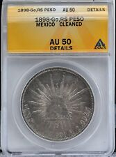 Mexico 1898 Go RS Silver Peso Coin ANACS AU 50 Details Cleaned