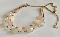 """Vintage Faceted Lucite Beads Gold Tone Chain 2 Strand Necklace 17"""" + 3"""""""