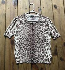Talbots women's S petite leopard animal print short sleeve button knit cardigan