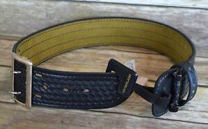 """Safariland Sam Browne Duty Belt, 2 1/4"""" Leather Black Basket weave Design Sz 22"""