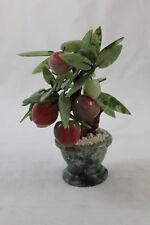 Vintage Oriental Bonsai Miniature Peach Tree Glass Jade Leaves 7 Inches Tall