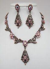 Vintage Necklace and Earrings Set with Rhinestones in Pink Colour