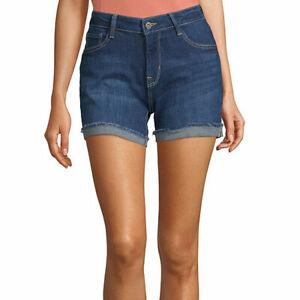 "Arizona Women's Juniors Midi 4.5"" Denim Shorts Size 9 Dark High Tide NEW"