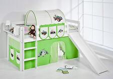 Juego de cama alta JELLE 190x90 blanco con Tobogán lilokids Tractor Verde