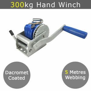 300kg Mini Hand Winch Webbing - Boat Tinny Tinnie Jet Ski Pwc Trailer Quad ATV