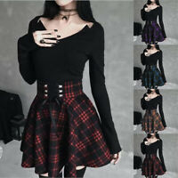 Women Gothic Pleated Plaid Skirts A-line Girl Punk Mini Skirt Dress Clubwear New