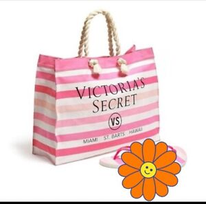 Victoria Secret Pink White Striped Tote Weekend Travel Beach Canvas Shopping Bag