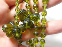 Antique Green Crystal Art Deco Necklace with Long dangles Wear Repair Restring