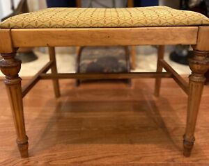 Vintage Mid-Century Hand Made Upholstered Bench/Vanity/Piano Stool w/Gold Fabric