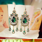 Fashion Women Green Crystal Gold Plated Hook Ear Stud Drop Dangle Earrings HOT