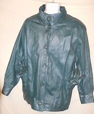 VINTAGE Women's Jacqueline Ferrar Leather Coat Jacket w/ Gloves Hunter Green-M