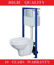CERSANIT TOILET FRAME WITH CISTERN WALL HUNG  TOILET PAN SOFT CLOSE SEAT, BUTTON