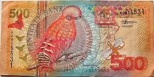 Surinam Suriname 500 Gulden 2000 Used Birds