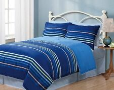 2 Piece Geo Blue Stripes Reversible Solid Comforter+PillowCase Twin Bedding Set