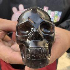 Natural fluorite Quartz Skull Crystal hand carved Healing1.54LB NA364