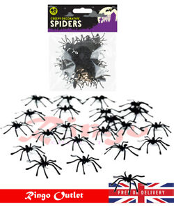 4pk paillettes Araignées Halloween Spider Creepy bestioles Gothique Party Decor Accessoires UK