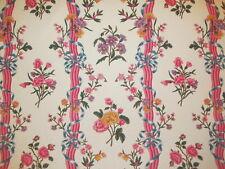 Vtg 1980s Brunschwig & Fils ADELAIDE Floral Cotton Print Fabric 10Yd Roses Pinks